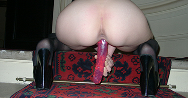 Dildo fuck in the stairs